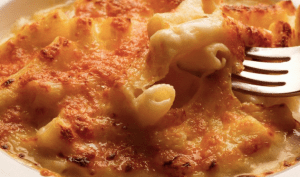 A close-up of macaroni and cheese