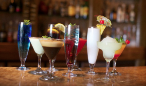 A row of alcoholic beverages