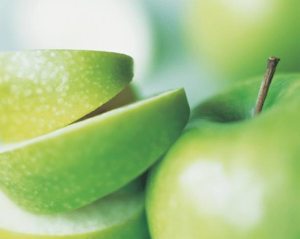 Slices of fresh green apple