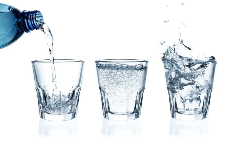 bottle glasses of water