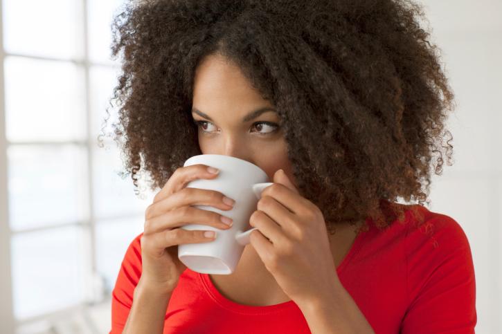 woman driking coffee tea