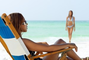 african american women on the beach