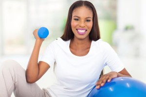 african american woman doing fitness exercise