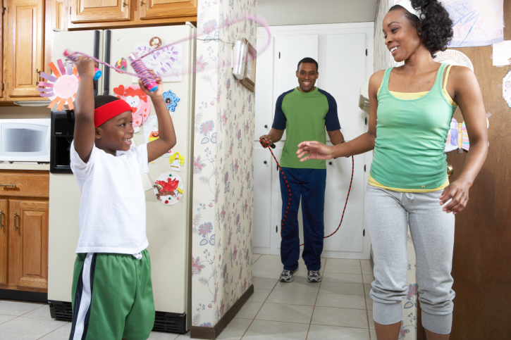 family jumping rope