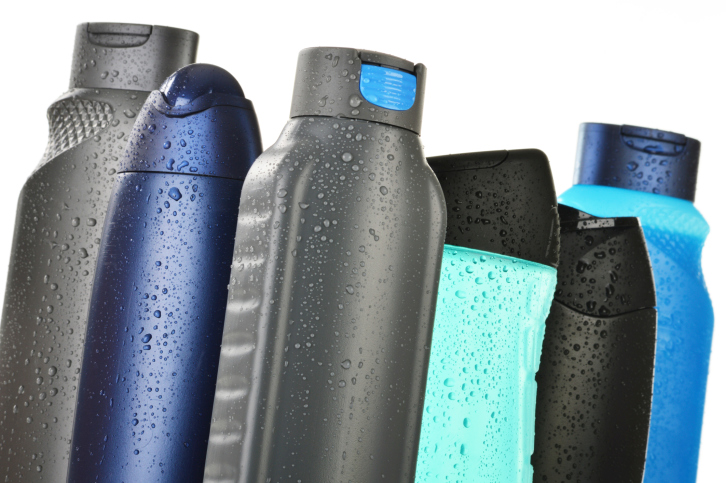 assorted body wash bottles