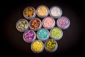 set of glitter in plastic containers