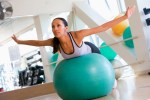 woman on stability ball