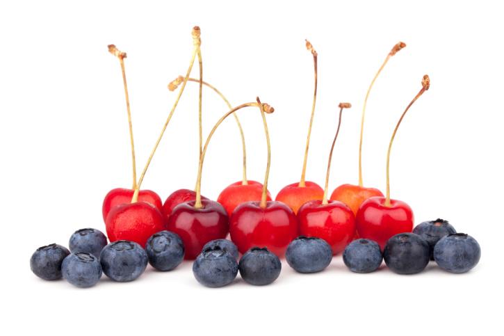 cherries and blueberries
