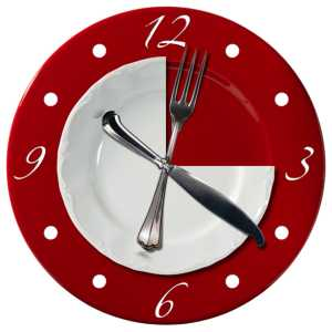 wall clock made from a plate and fork and knife represent the hands