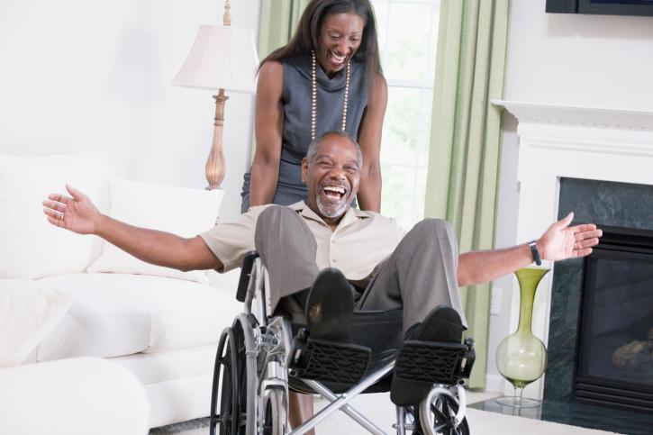 happy couple wheelchair