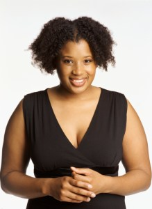 african woman wearing black top