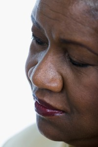 close up of older woman thinking