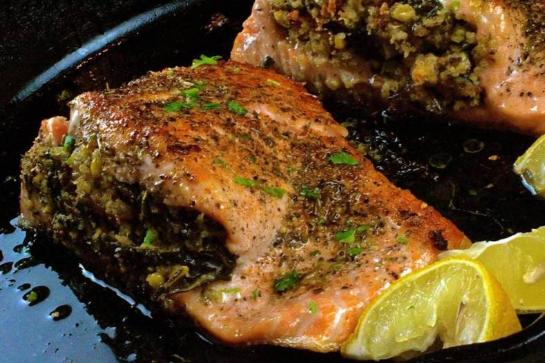 Kale-Cornbread-Stuffed-Salmon