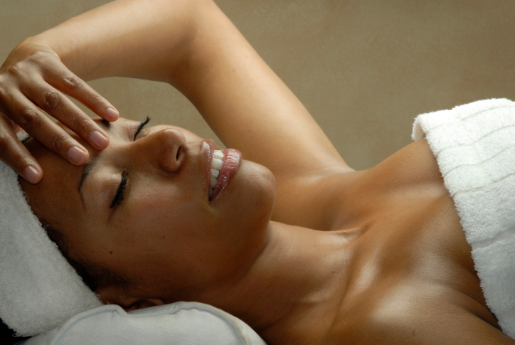woman at spa facial