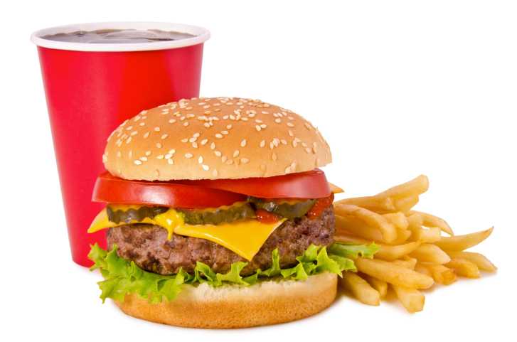 Fast food burger fries soda