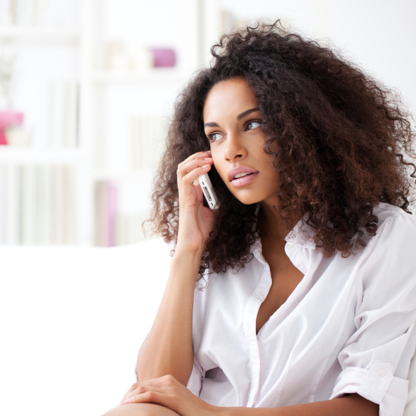 Woman phone call serious