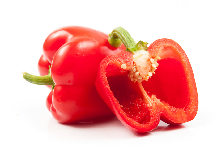 cut open red pepper