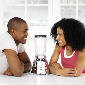 couple with blender