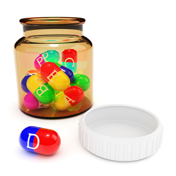 assorted vitamins in bottle