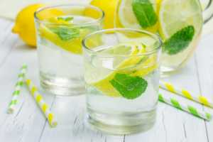 glasses of lemon water with mint