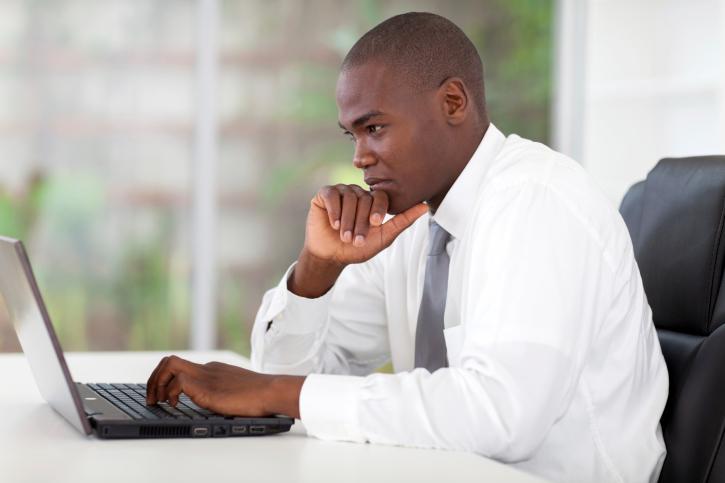 businessman at desk computer