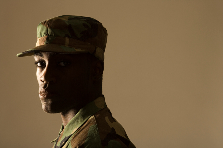 African American Black man soldier serious