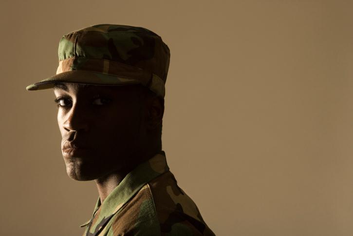 African American Black man soldier serious