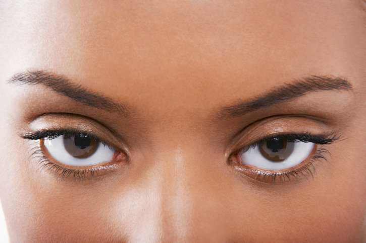 close up African American woman eyebrows