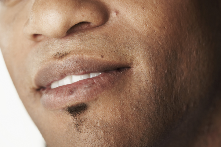African American man lips mouth smile