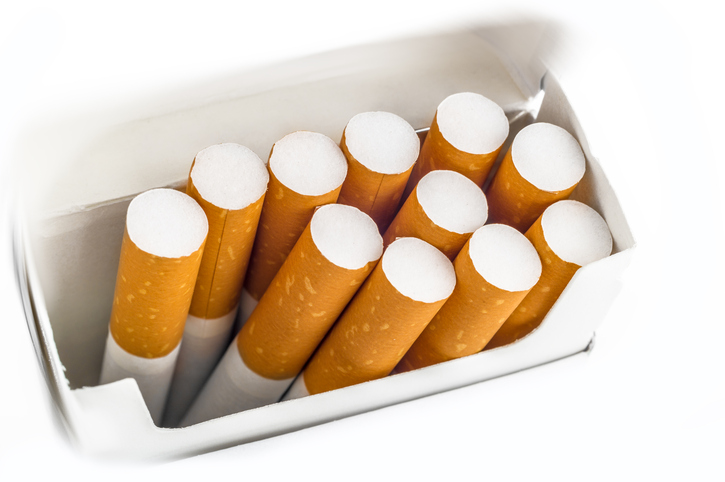 Opened pack of cigarettes
