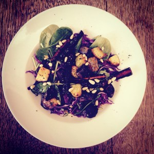 Roast caramelised autum veg salad