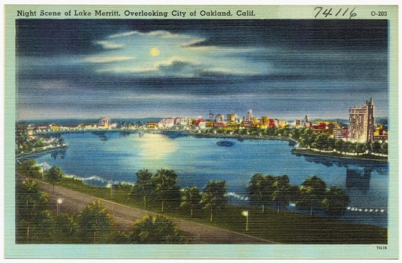 Lake Merritt at night, 1940s