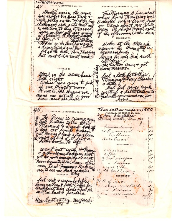 Last pages of SSeverson diary