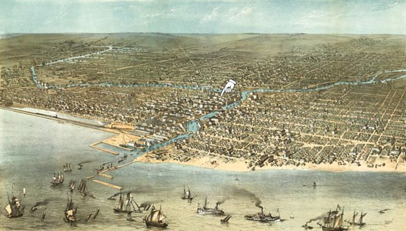 Chicago 1868 birdseye, enlarged with location