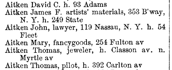 1865 city directory for Brooklyn, NY