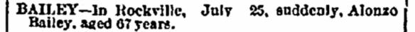 Alonzo Bailey death notice Connecticut Courant 3 Aug 1867