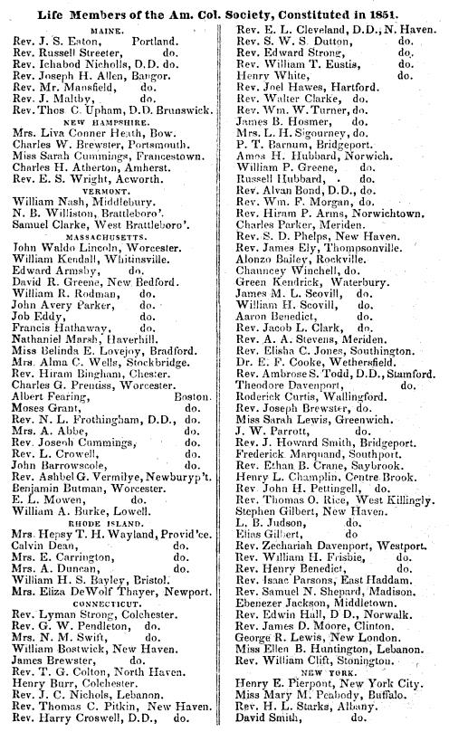 Alonzo Bailey American Colonization Society 1851