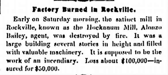 Factory burned down in Rockville 1854