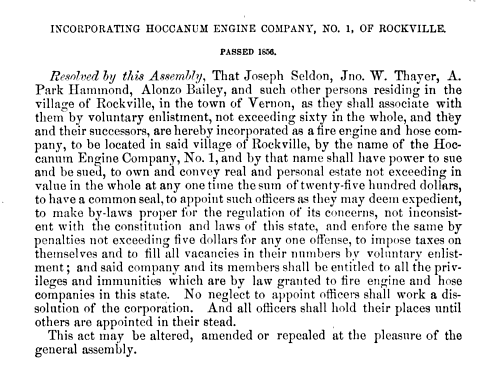 Incorporating The Hoccanum Engine Company 1856