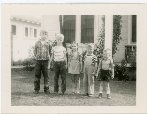 "On back of original: ""L. to R Mel Rinaudo Ross McMurry Linda Rinaudo Glenn McMurry Keith Black 3 1/2 years March 1946"" (in Dorothy Ruth McMurry Black's hand)"