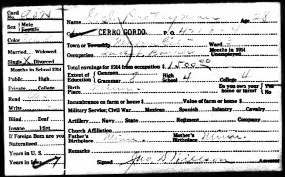 GI Prettyman 1915 Iowa census