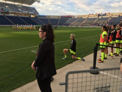 Soccer player Megan Rapinoe takes a knee. Source: espn.com