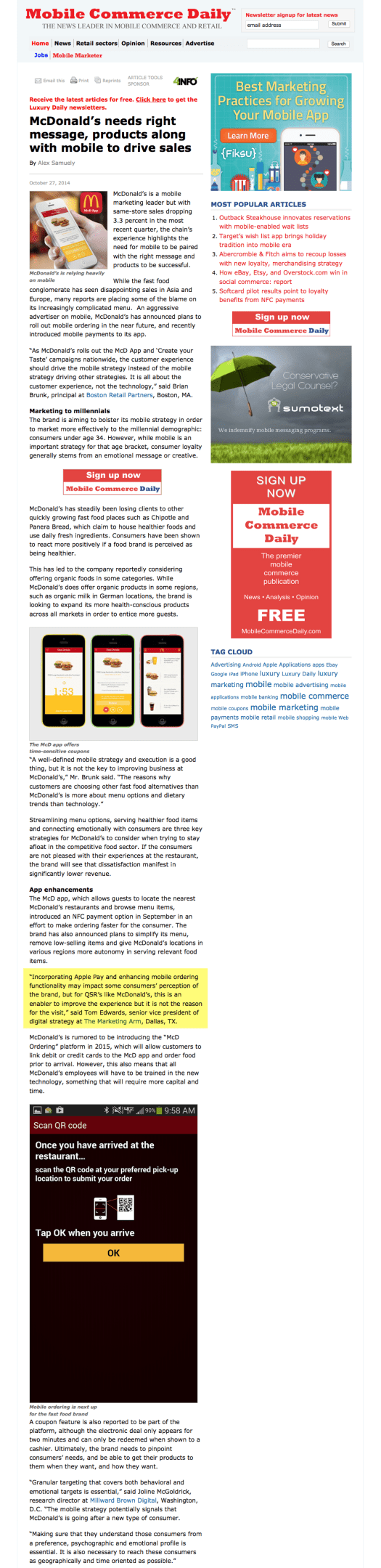 McDonald's needs right message, products along with mobile to drive sales - Mobile Commerce Daily - Strategy 2014-11-09 21-33-16