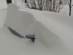 View from the porch of the car. That was after the porch was shoveled so I could stand on it.