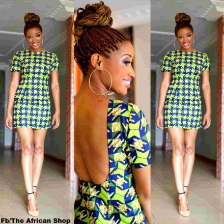african print short dress