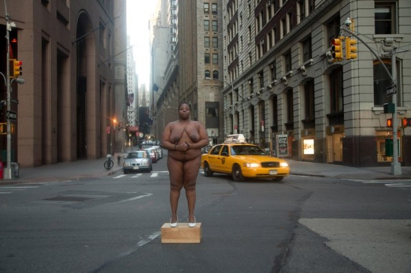 """From Her Body Came Their Greatest Wealth"", Wall Street, New York from the White Shoes series, Copyright Nona Faustine"