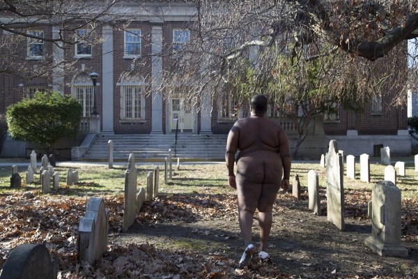 """On This Spit Of Land Massa and I Reside"", Pre-revolutionary Dutch Cemetery, Brooklyn from the White Shoes series, Copyright Nona Faustine"