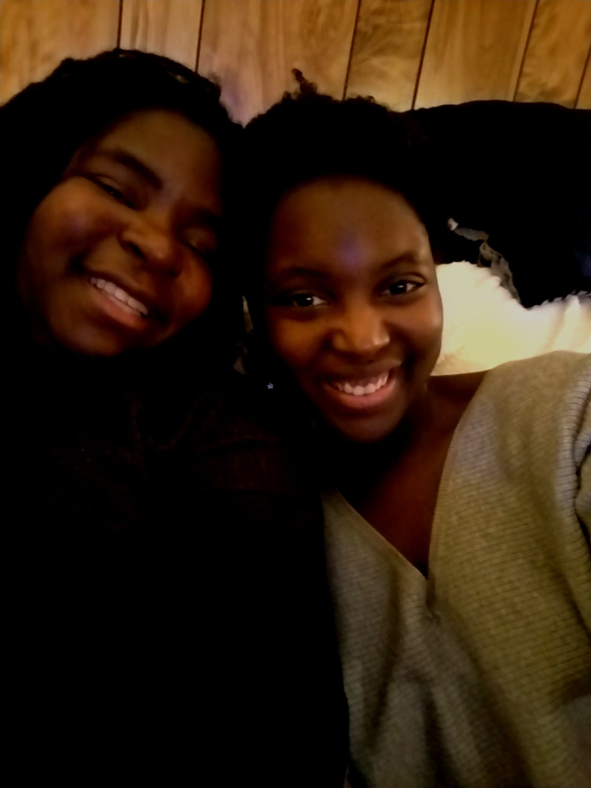 Syntrell (right) and her sister (left).