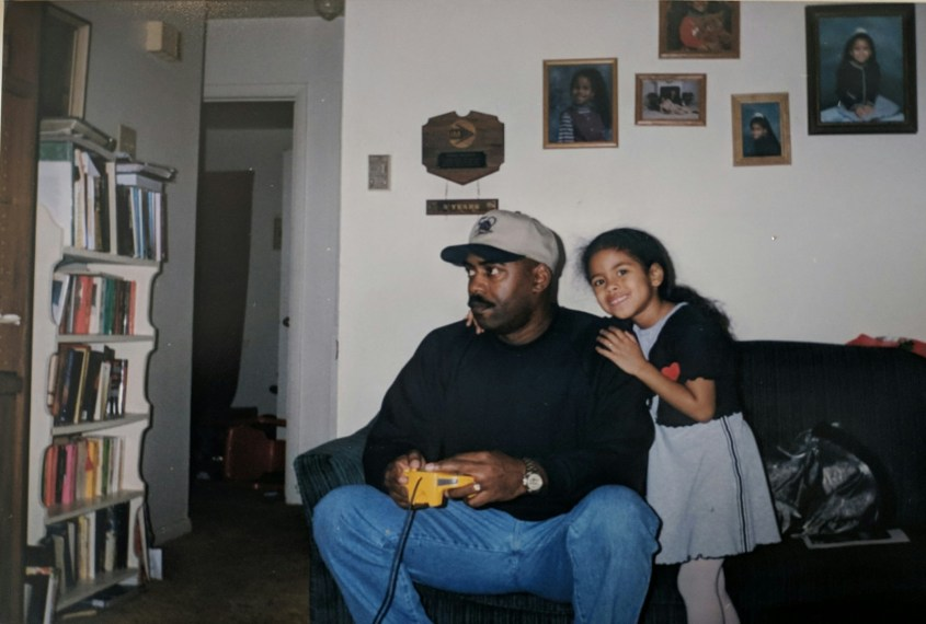 Delia and her dad with that very same N64 controller.