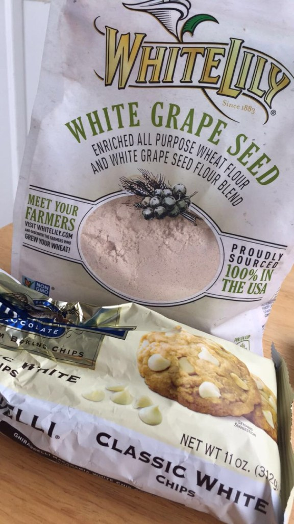 My secret ingredients! White Lily white grape seed flour and white chocolate chips.